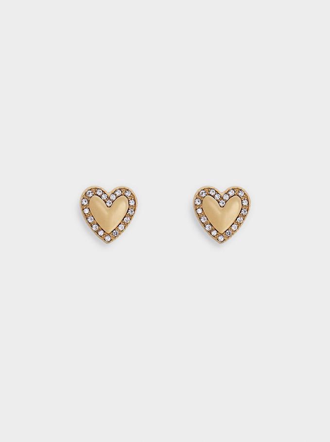 Pendientes Cortos De Acero Corazón, Dorado, hi-res