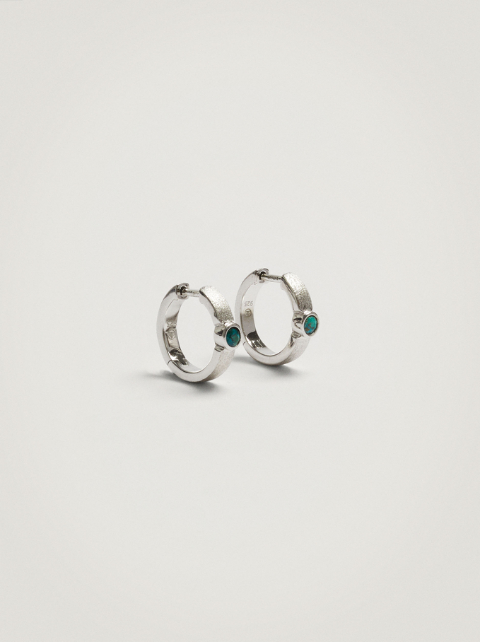 925 Sterling Silver Short Hoops With Zirconia, Blue, hi-res