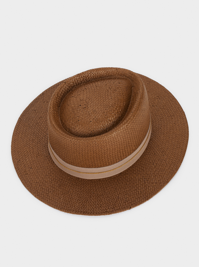 Straw Hat With Matching Ribbon, Brown, hi-res
