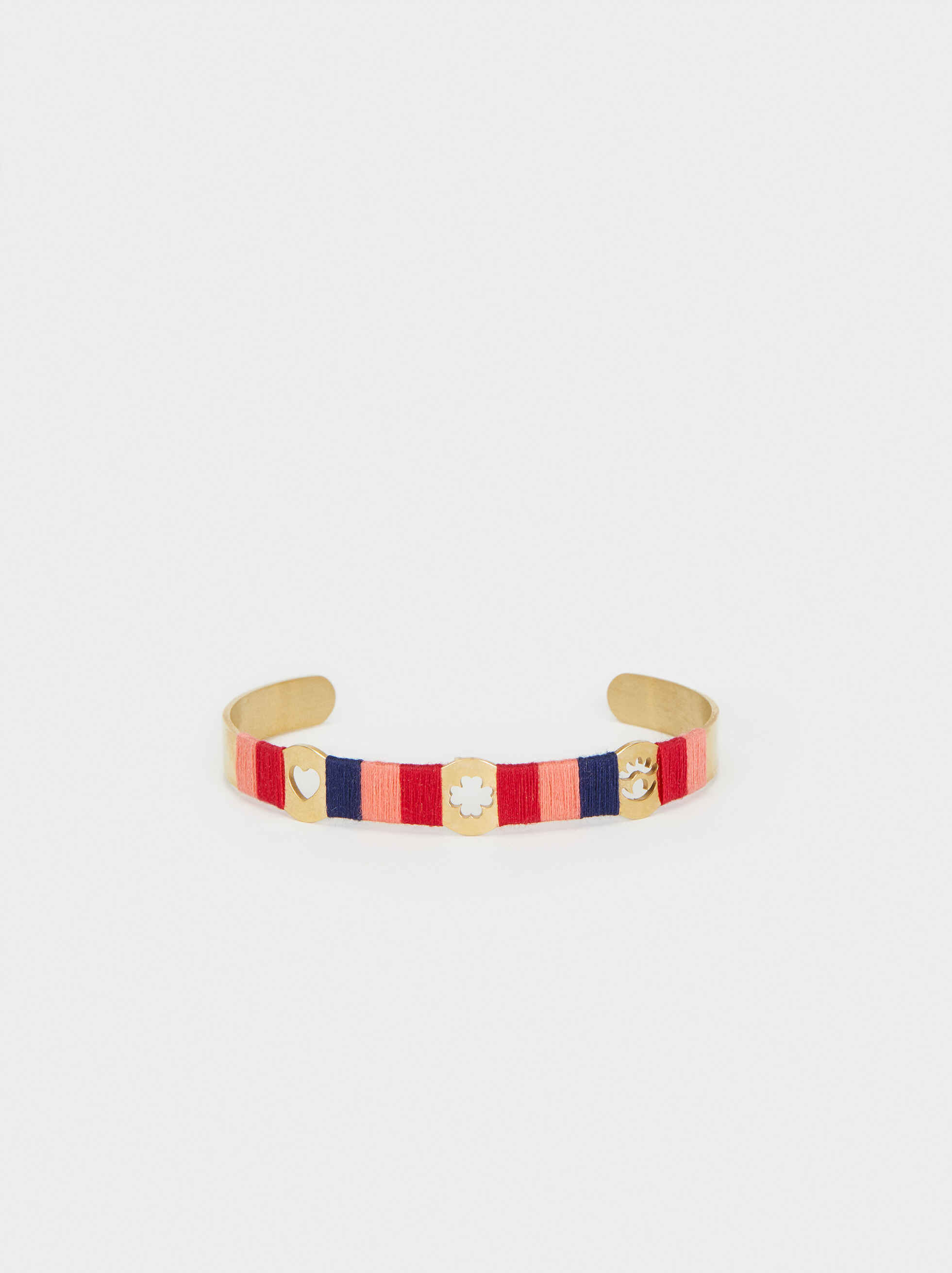 Gold Rigid Bracelet With Thread Detail, Multicolor, hi-res