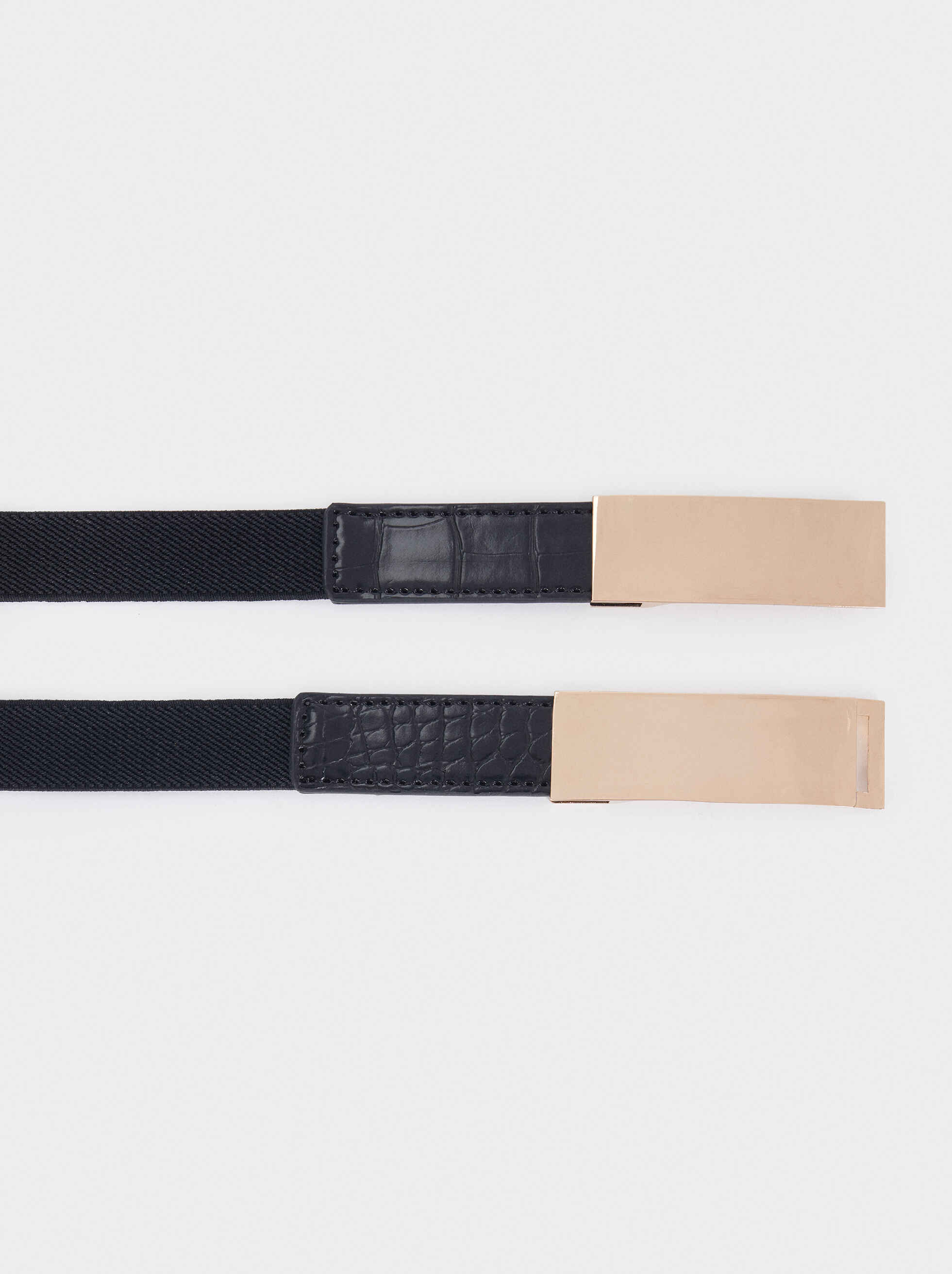 Narrow Belt With Metallic Details, Black, hi-res