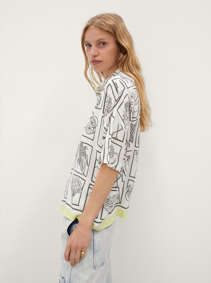 Printed Oversized Shirt, Ecru, hi-res