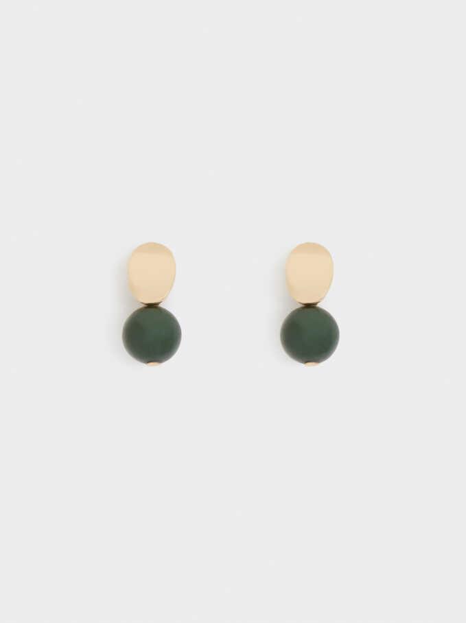 Pendientes Cortos Con Piedra Multicolor, Verde, hi-res