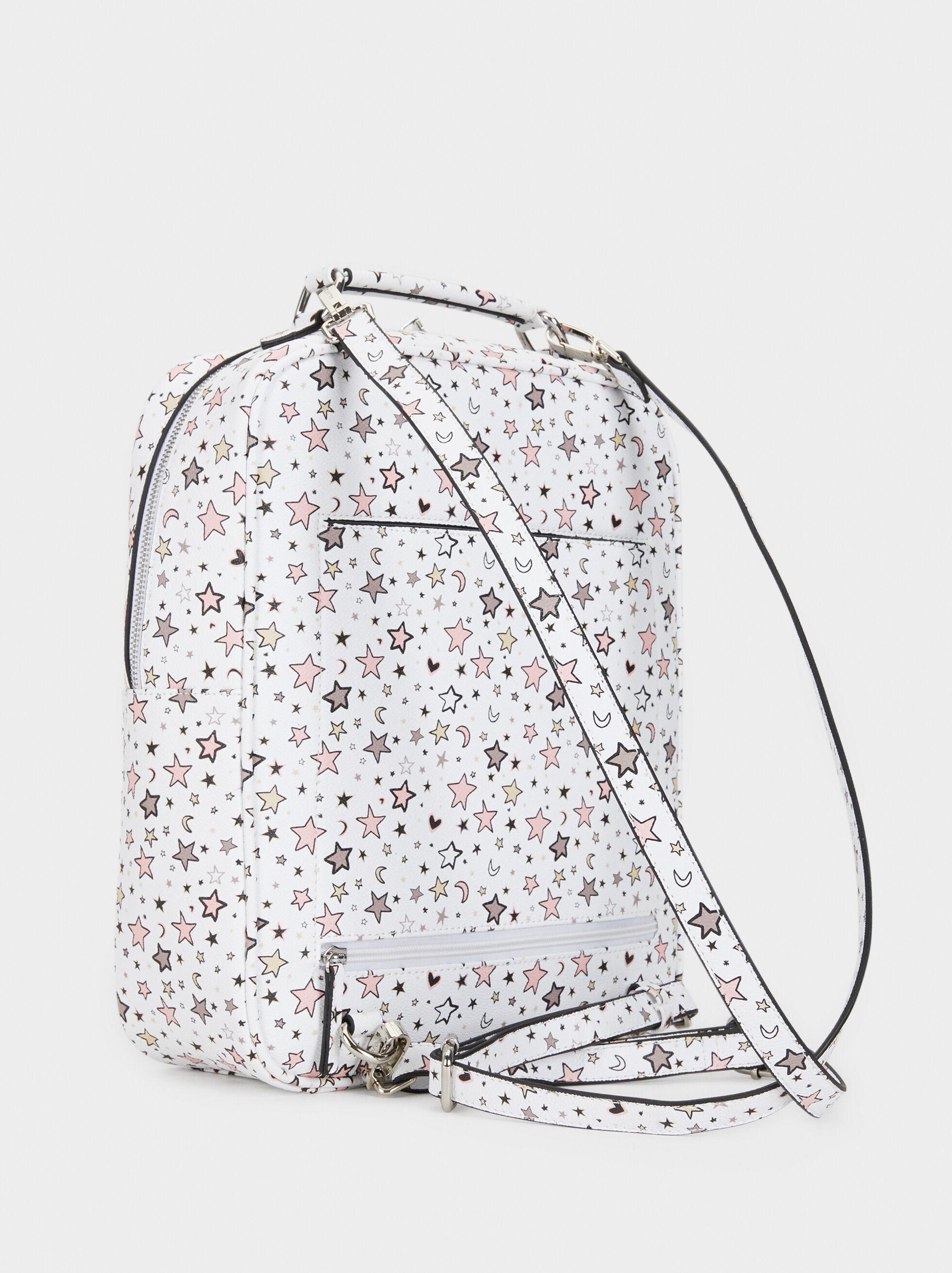 Star Print Backpack, White, hi-res