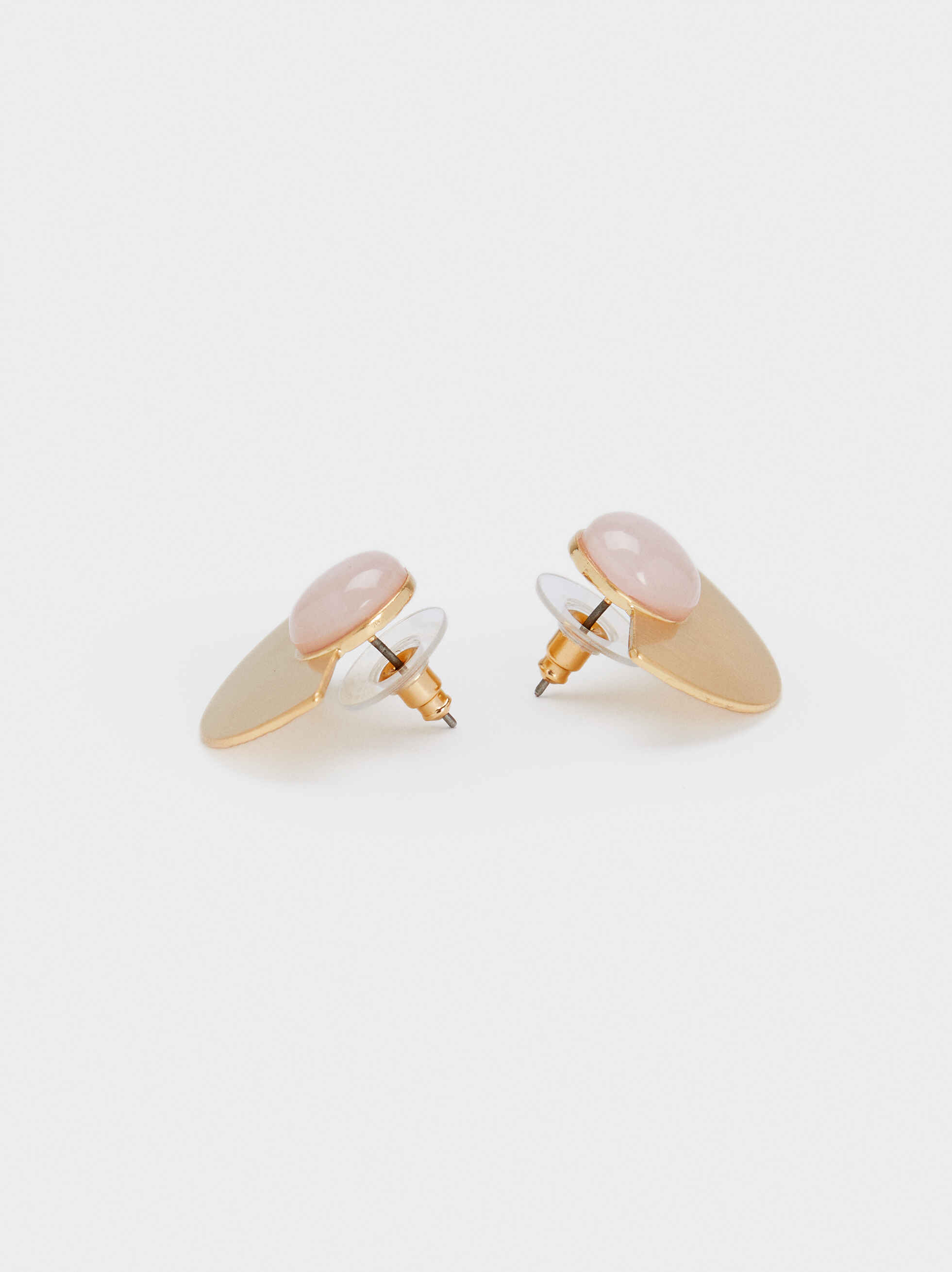 Short Gold-Toned Earrings, Pink, hi-res