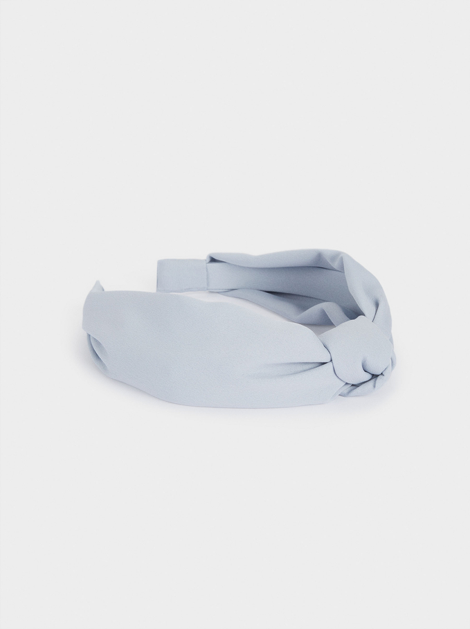Wide Headband With Knot, Blue, hi-res