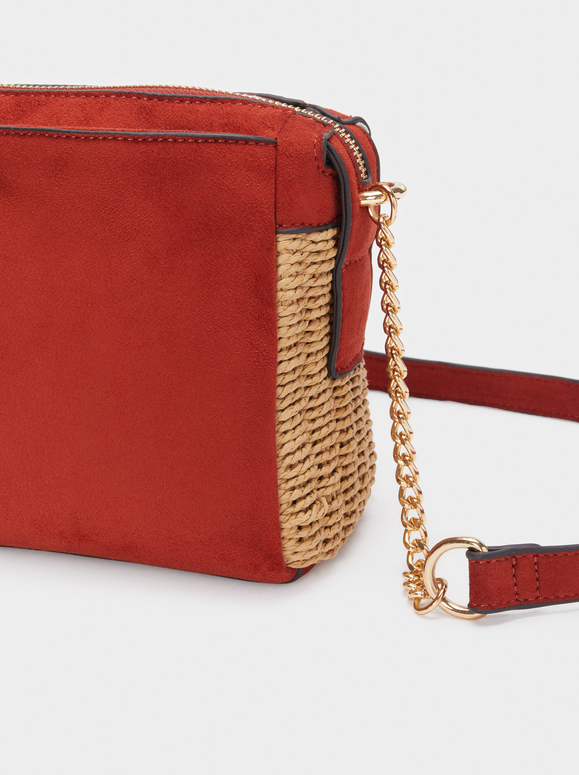 Textured Suede Crossbody Bag, Brick Red, hi-res