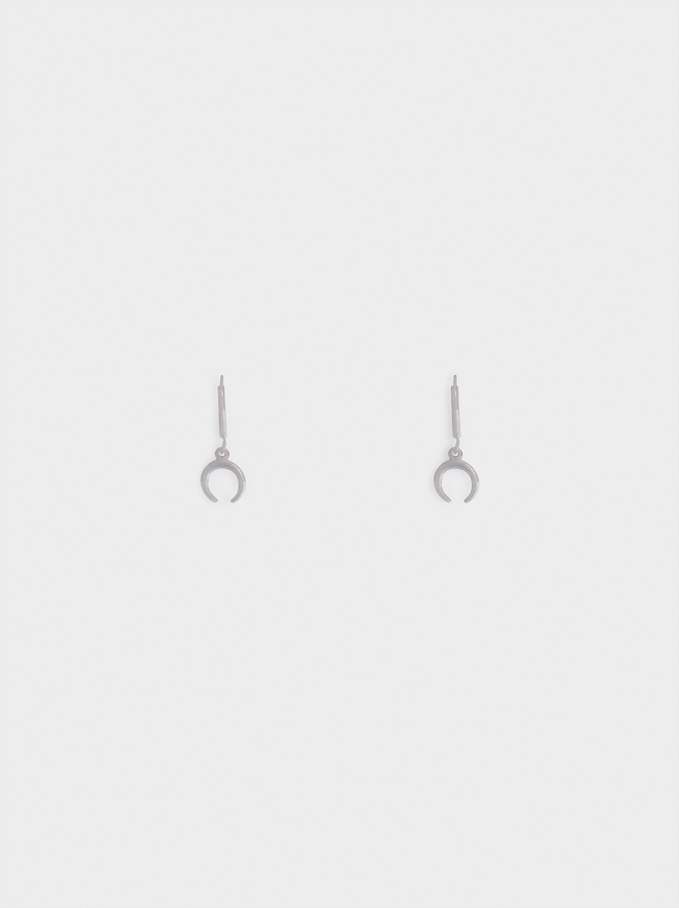 Stainless Steel Small Hoop Earrings With Horn, Silver, hi-res
