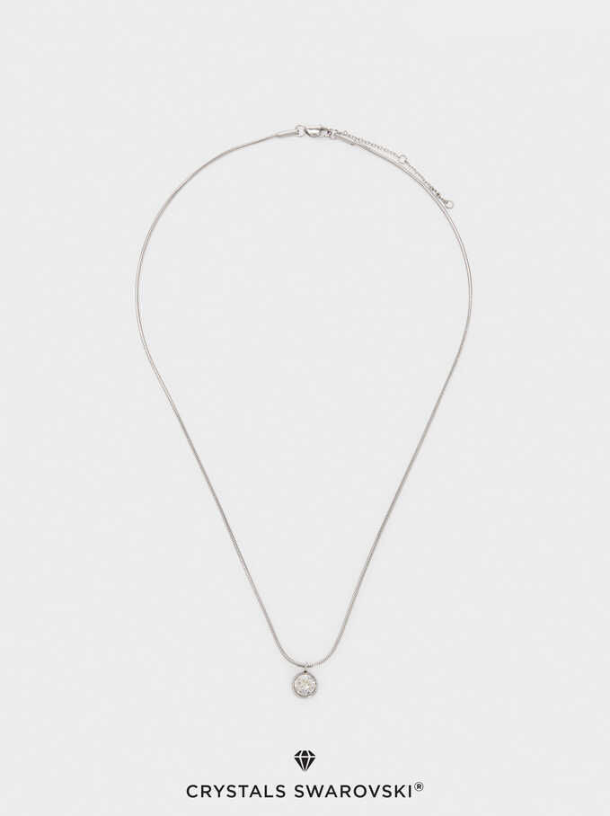 Stainless Steel Swarovski Crystals Necklace, Silver, hi-res