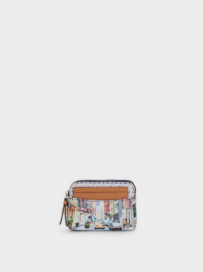 New York Print Medium Purse, Camel, hi-res