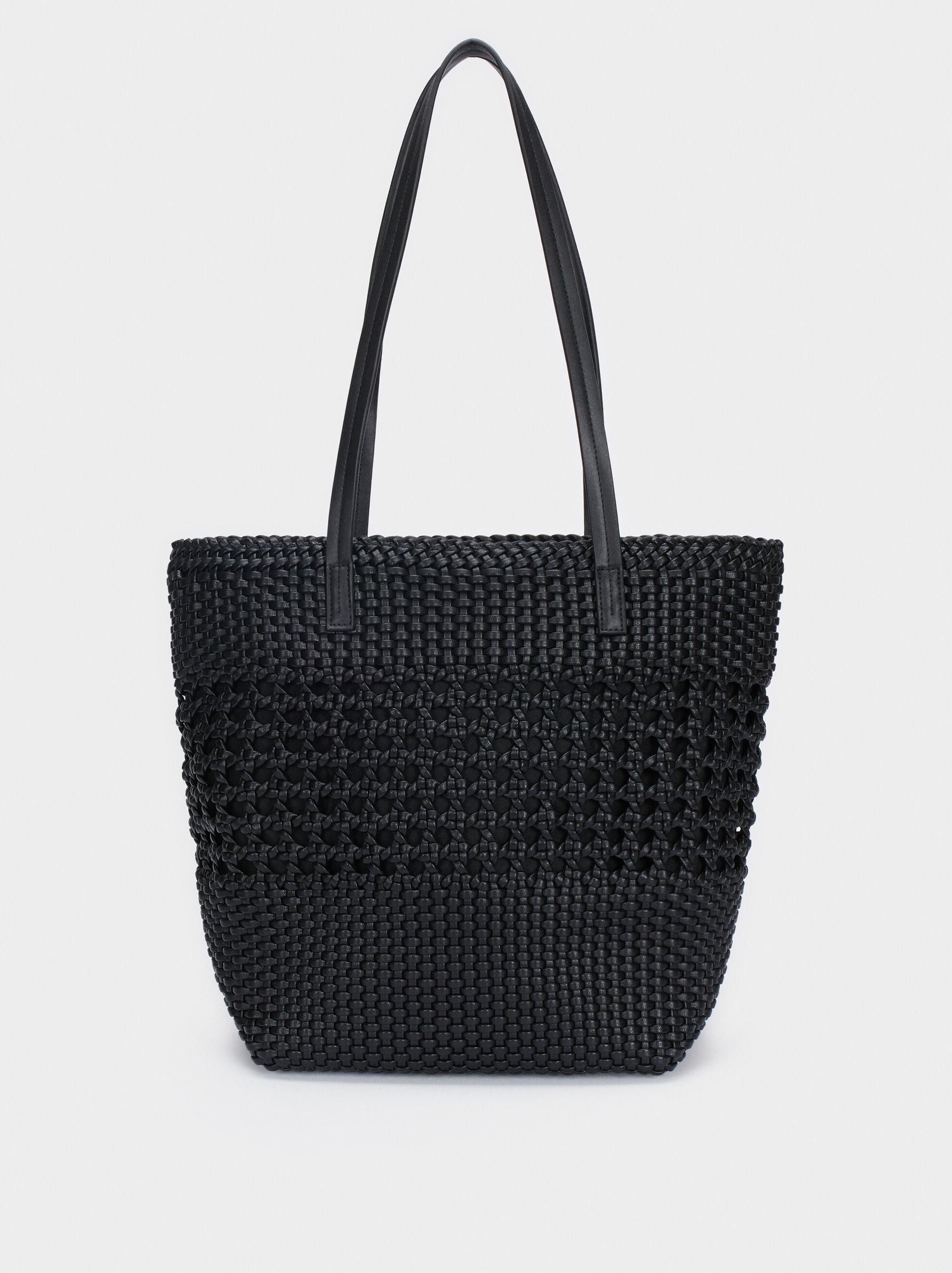 Braided Tote Bag, Black, hi-res