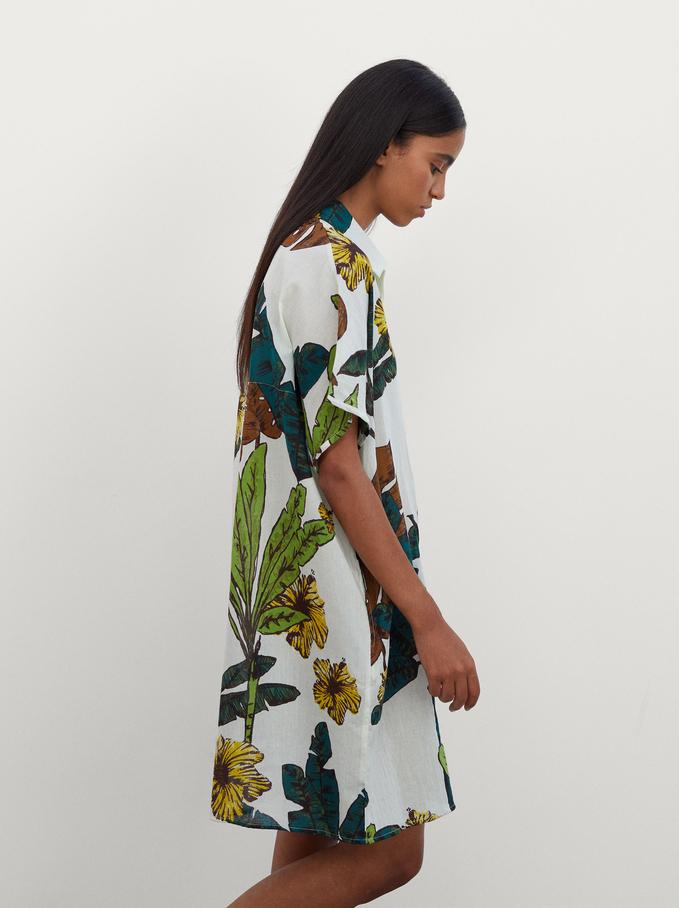 Multi-Coloured Print Shirt Dress, White, hi-res