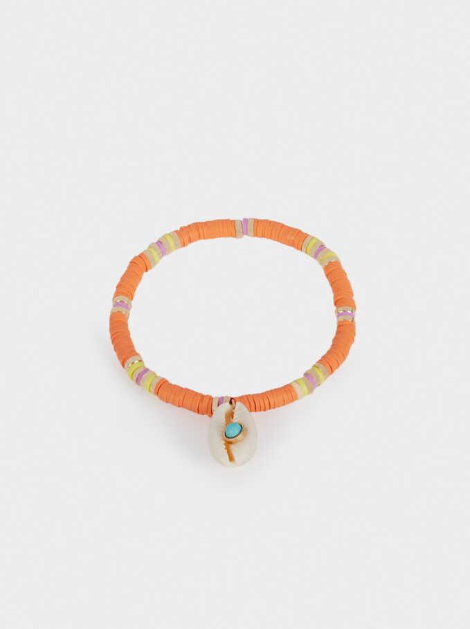 Elastic Bracelet With Shell , Multicolor, hi-res