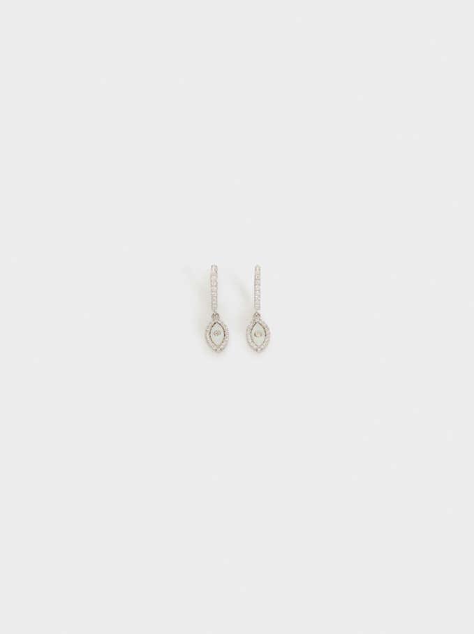925 Silver Small Hoop Earrings, Beige, hi-res