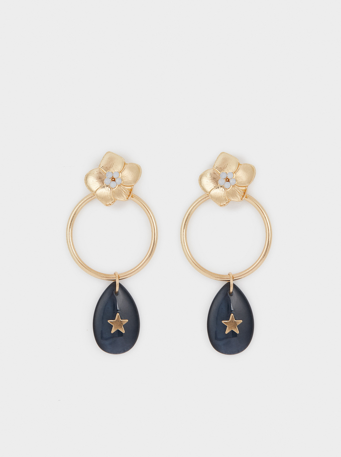 Long Earrings With Flowers And Stars, Golden, hi-res