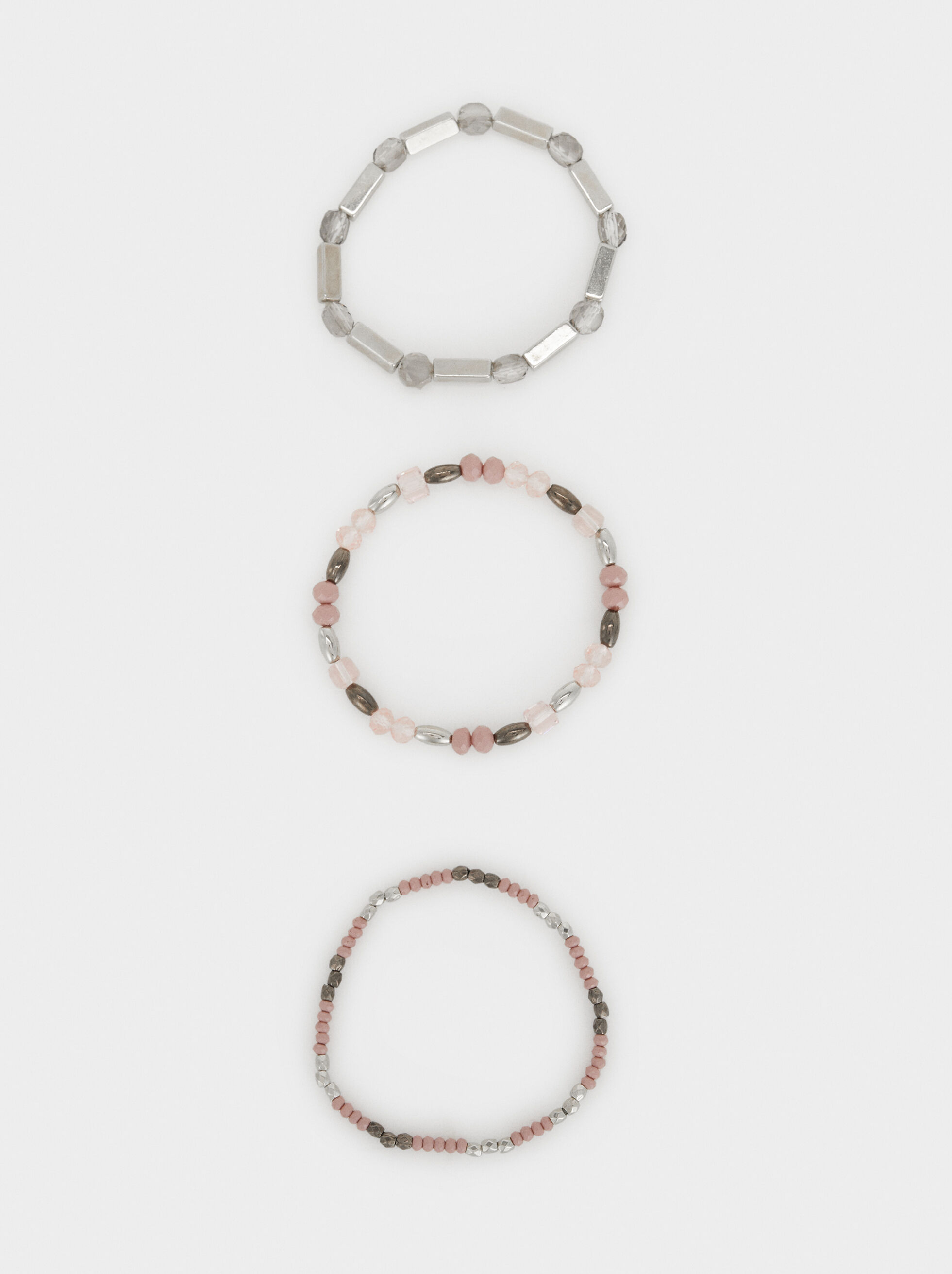 Set Of Cosmic Pink Elastic Bracelets, Multicolor, hi-res