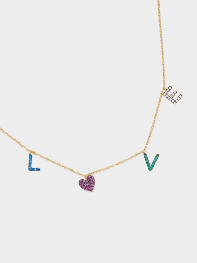 Collier Court En Argent 925 Love Avec Zircone, Multicolore, hi-res