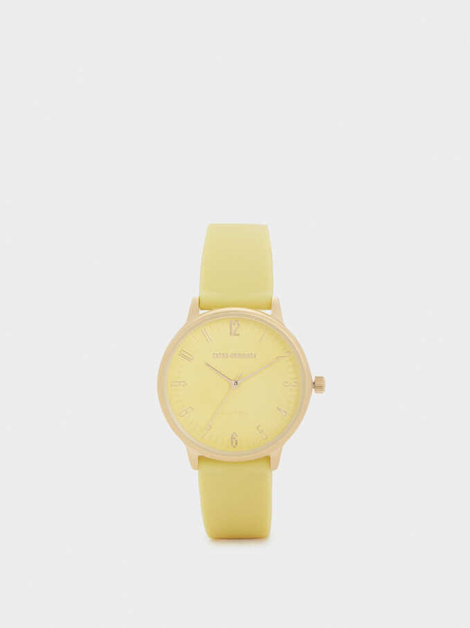 Watch With Silicone Strap And Round Face, Yellow, hi-res