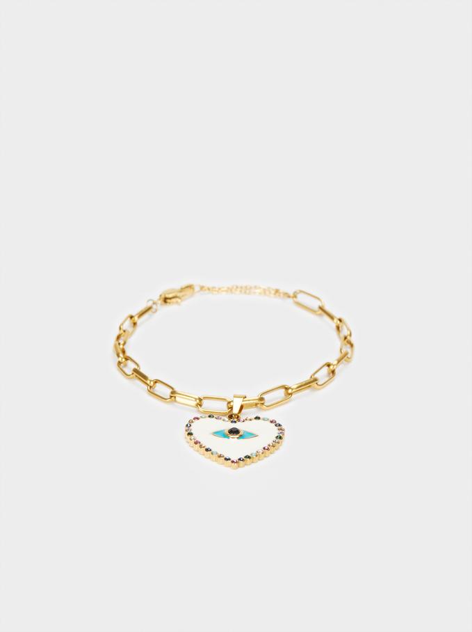 Gold Stainless Steel Heart Bracelet, Multicolor, hi-res