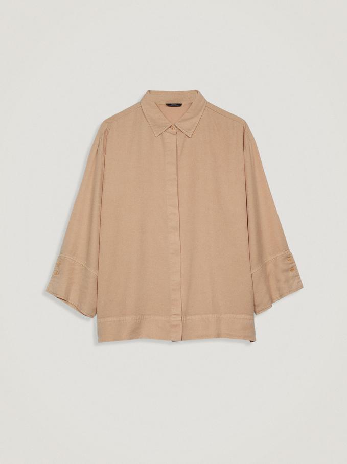 100% Lyocell Shirt, Beige, hi-res