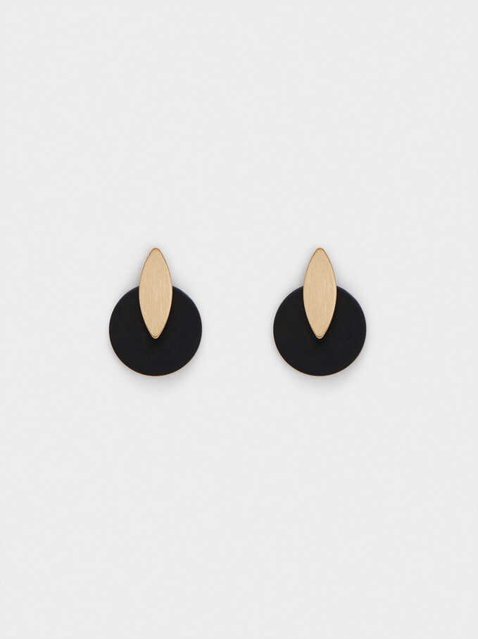 Short Resin Earrings, Black, hi-res