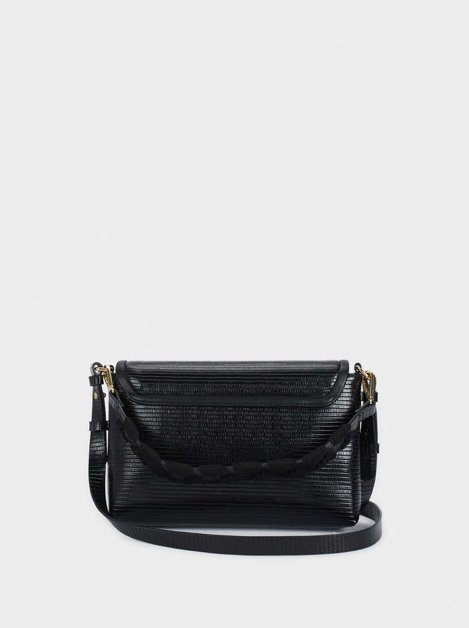 Handbag With Front Flap Fastening, Black, hi-res