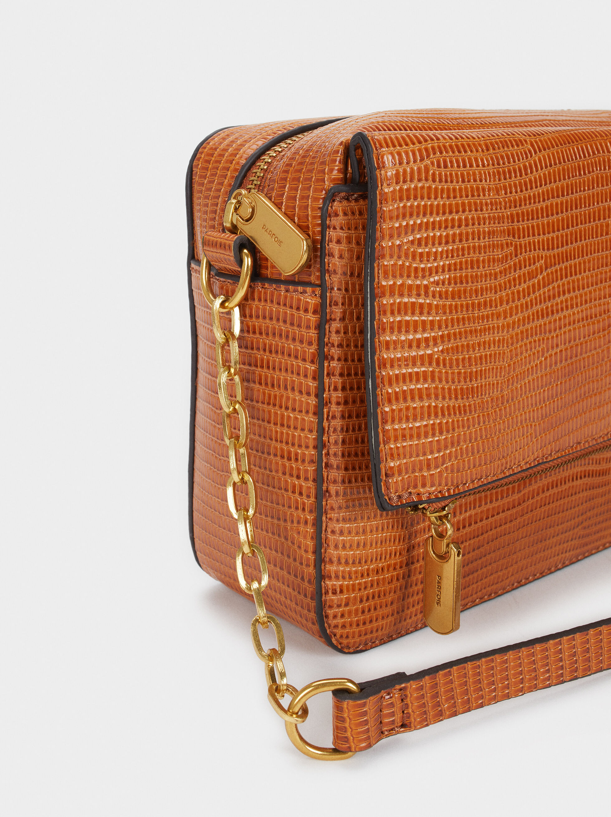 Embossed Faux Leather Crossbody Bag, Camel, hi-res
