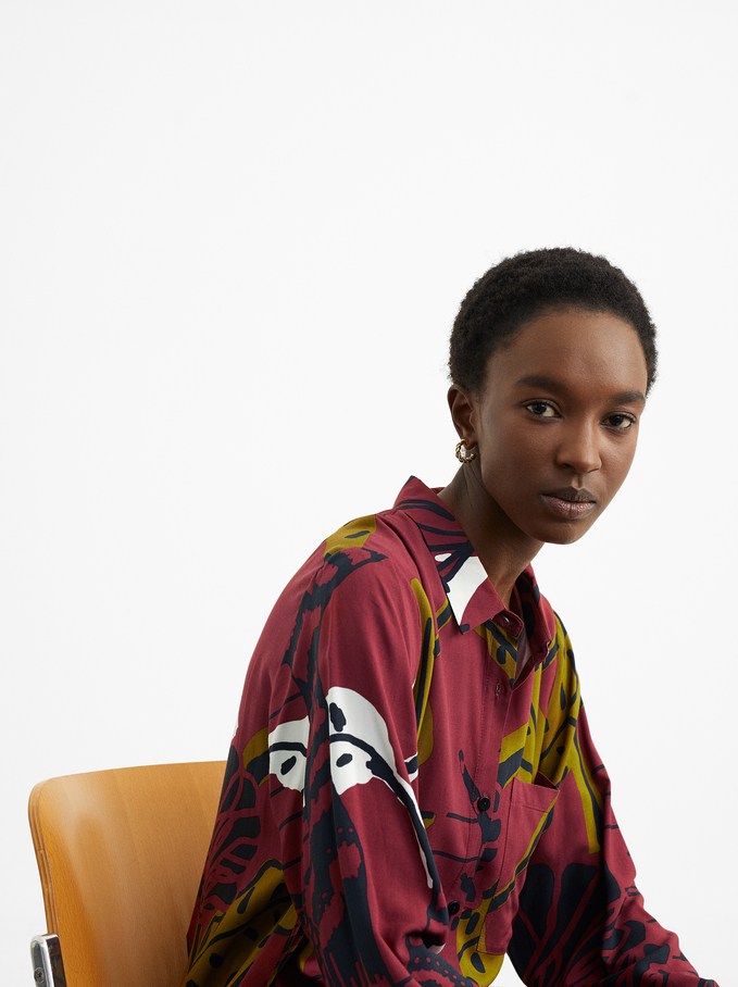 Printed Shirt Dress, Bordeaux, hi-res