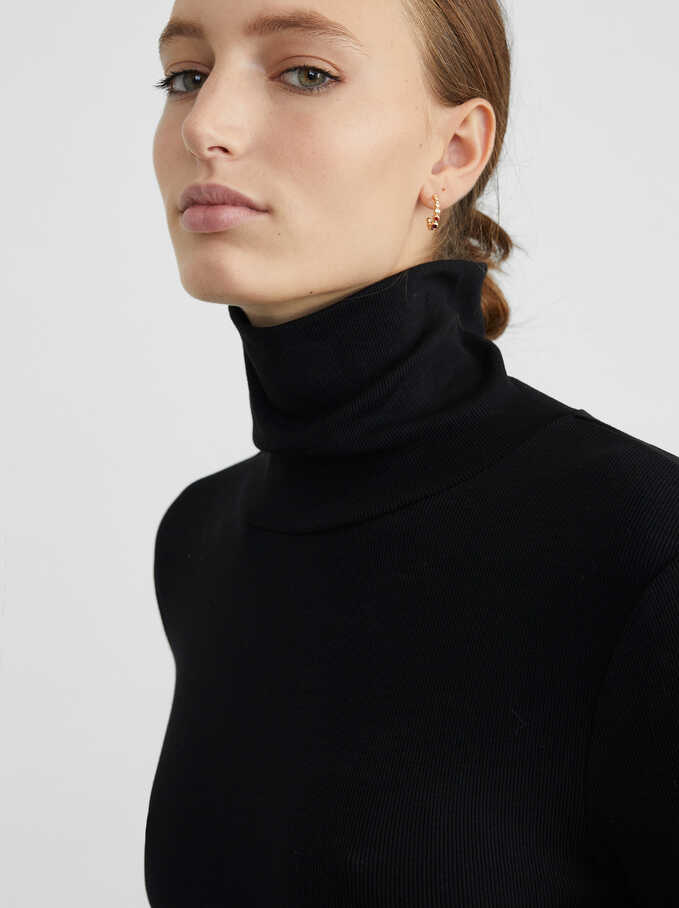 High-Neck Knit Sweater, Black, hi-res