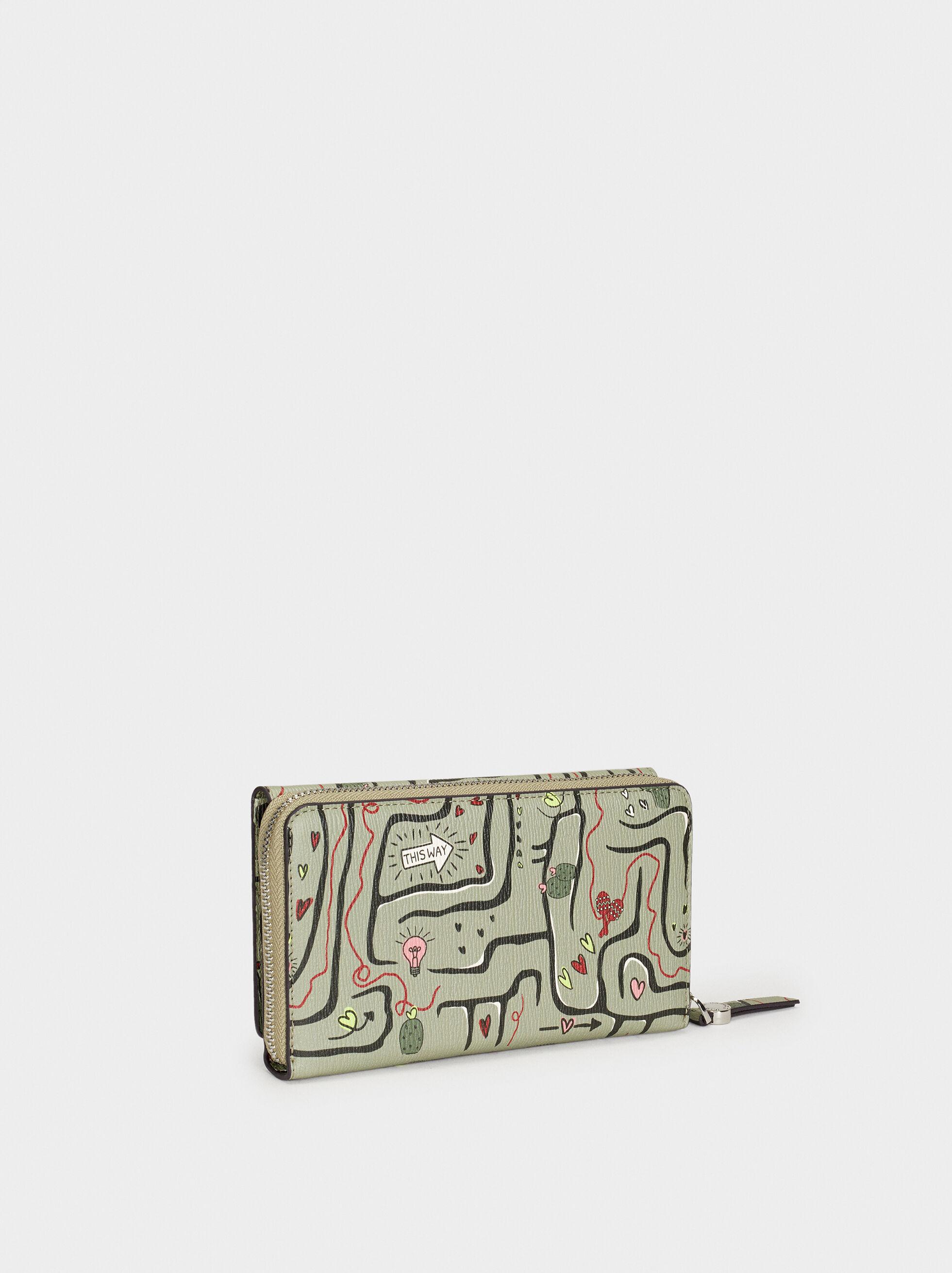 Love Printed Wallet, Khaki, hi-res