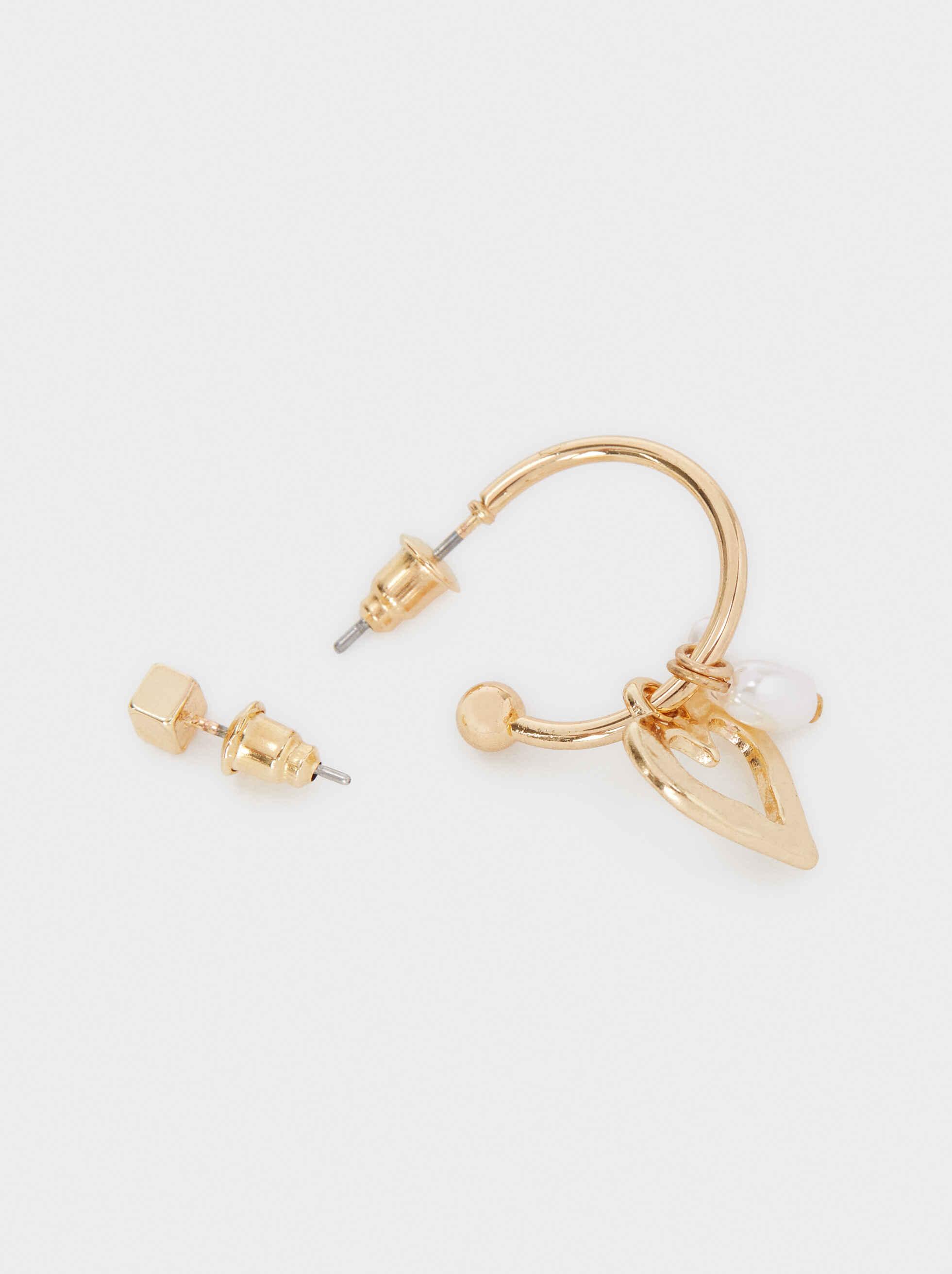 Set Of Gold Heart Hoop Earrings, Golden, hi-res