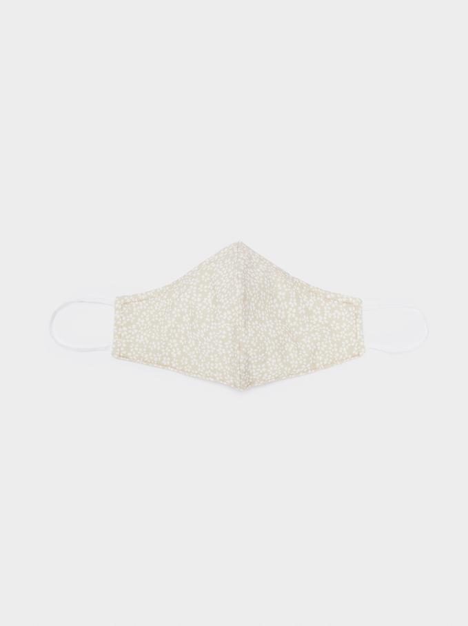 Masque Imprimé Réutilisable, Beige, hi-res