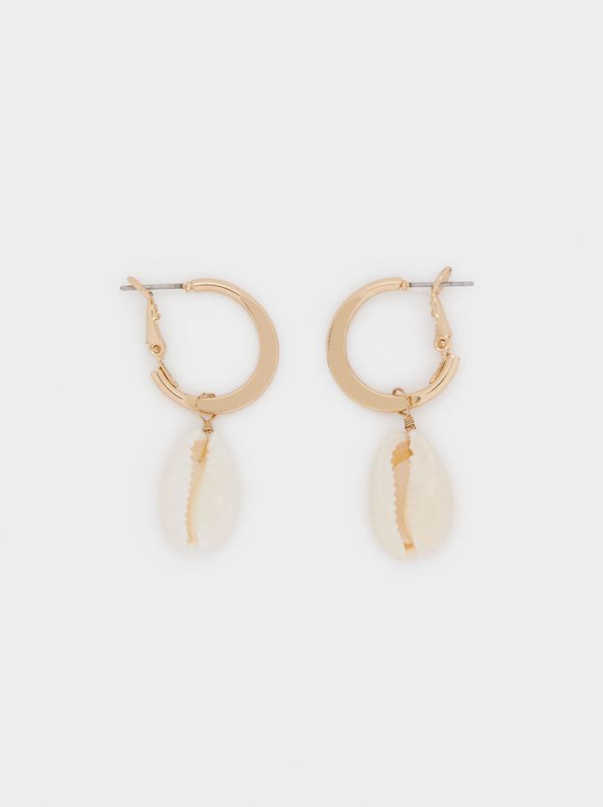 Hoop Earrings With Shell Pendant, Golden, hi-res