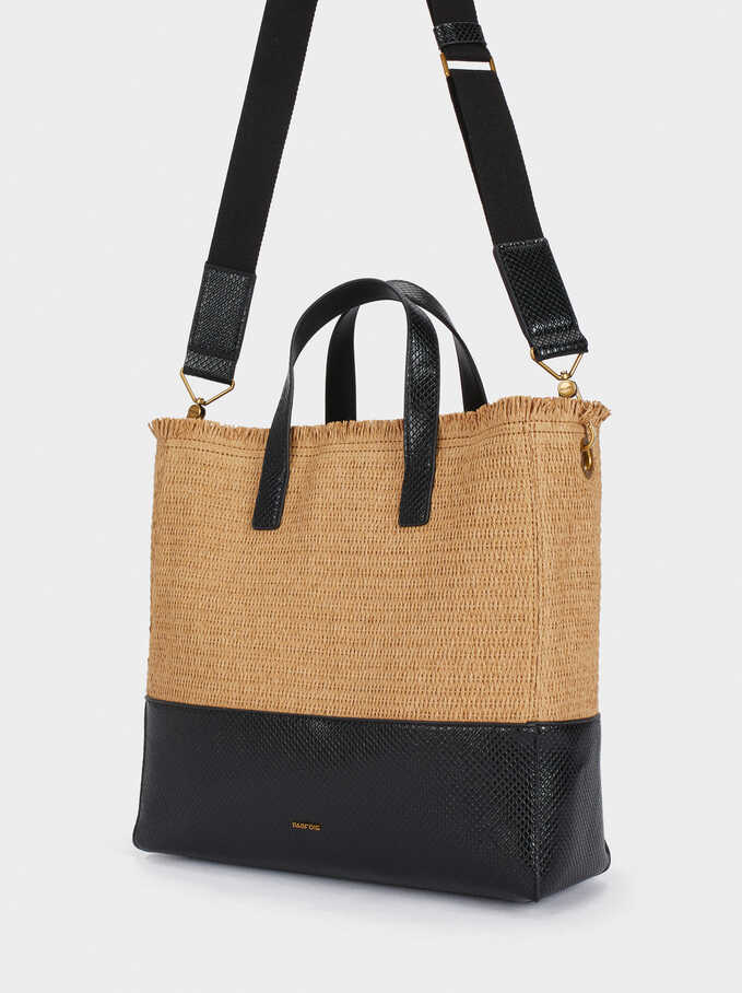Raffia Tote Bag With Embossed Animal Print, Black, hi-res