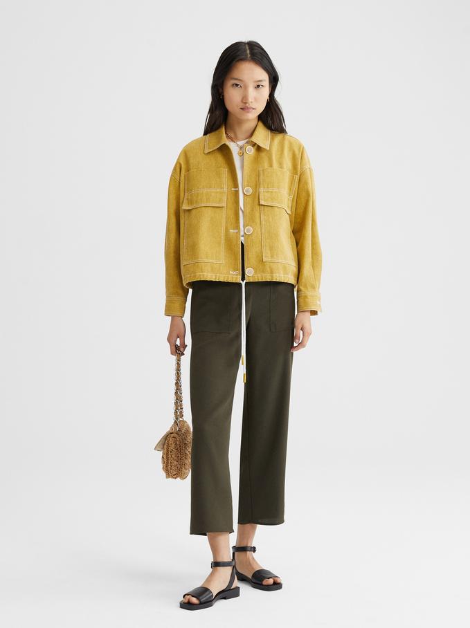 Jacket With Adjustable Waist, Yellow, hi-res