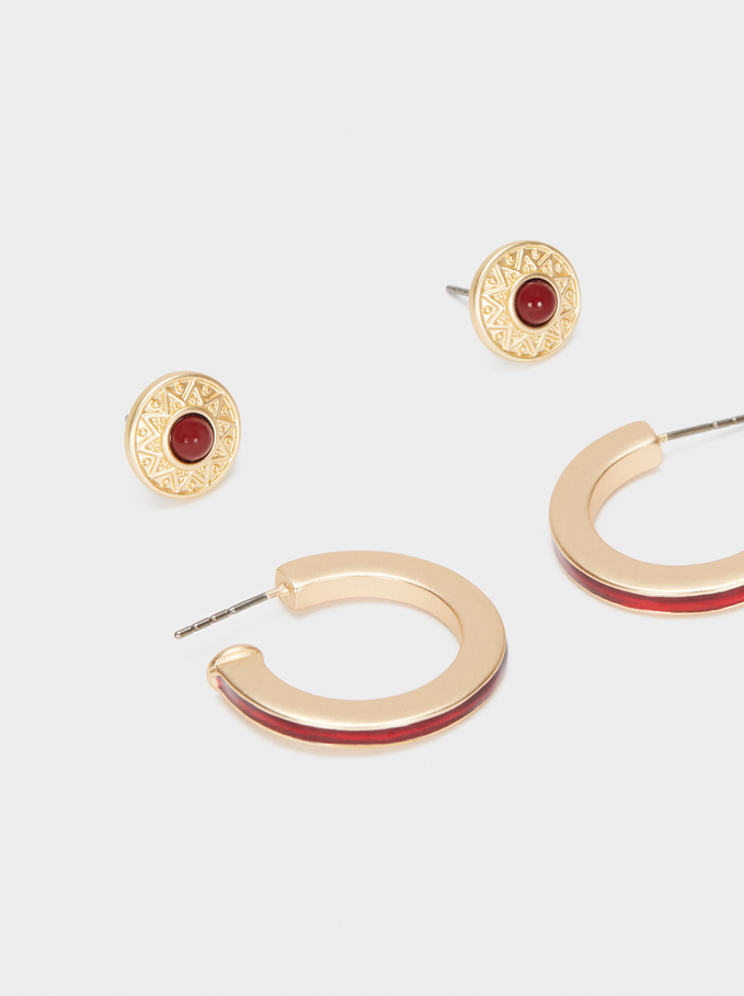 Multicoloured Earrings Set, Red, hi-res