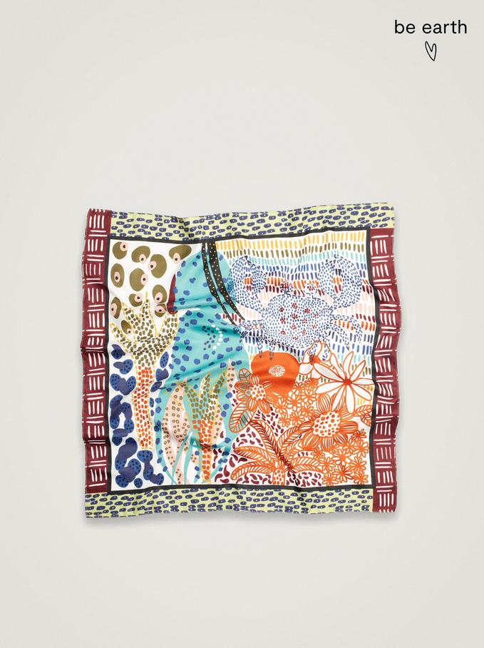Pañuelo Estampado Confeccionado Con Materiales Reciclados, Multicor, hi-res