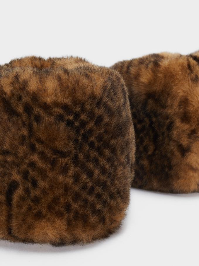 Faux Fur Cuffs , Brown, hi-res