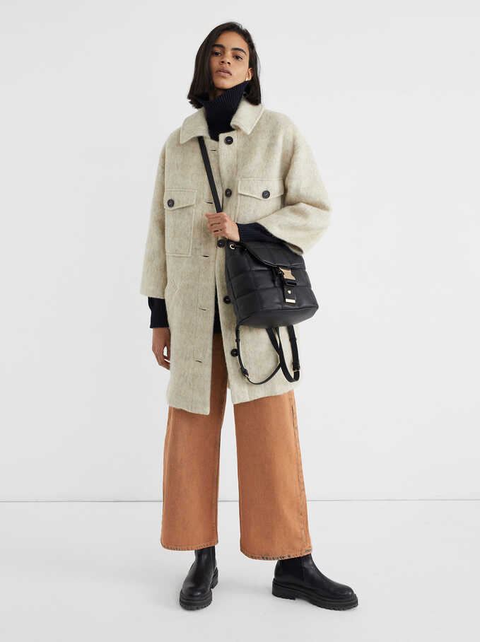 3/4 Length Sleeve Coat With Button-Up Front, Beige, hi-res