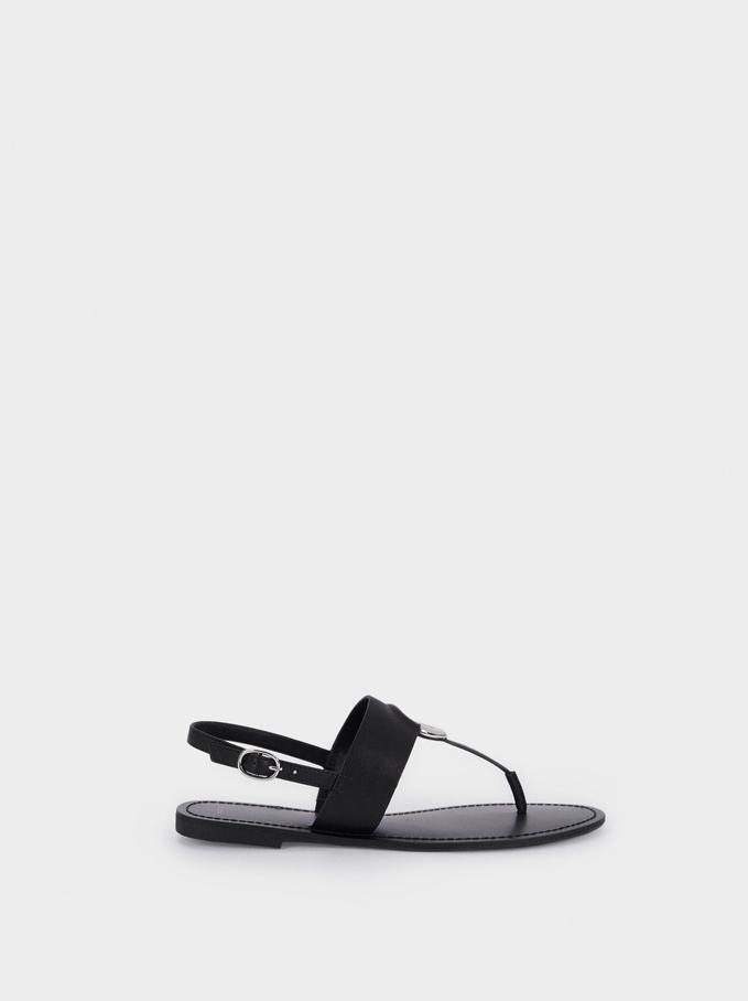 Flat Strappy Sandals, Black, hi-res