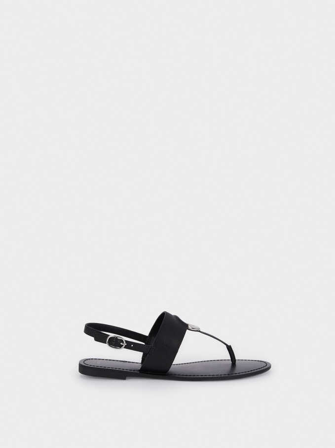 Flat Strappy Sandals, Black, hi-res