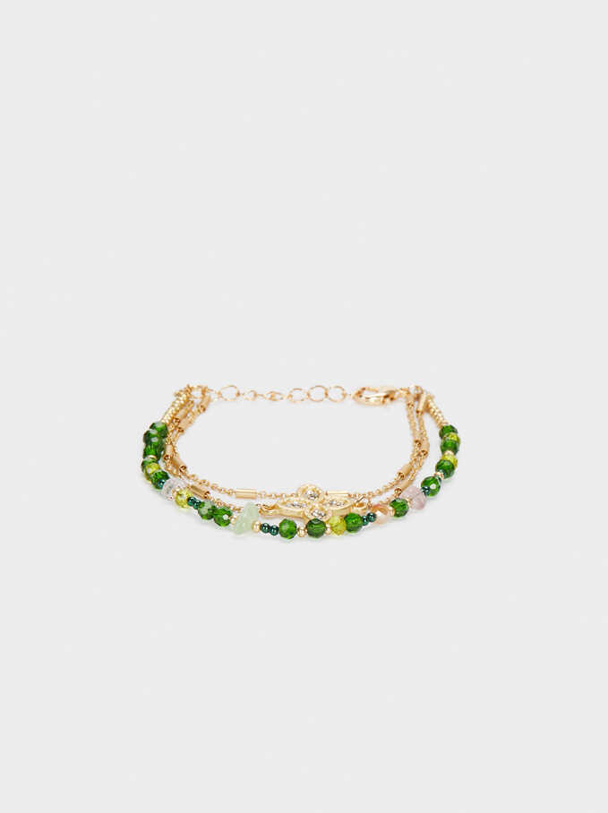 Gold Bracelet With Beads, Multicolor, hi-res