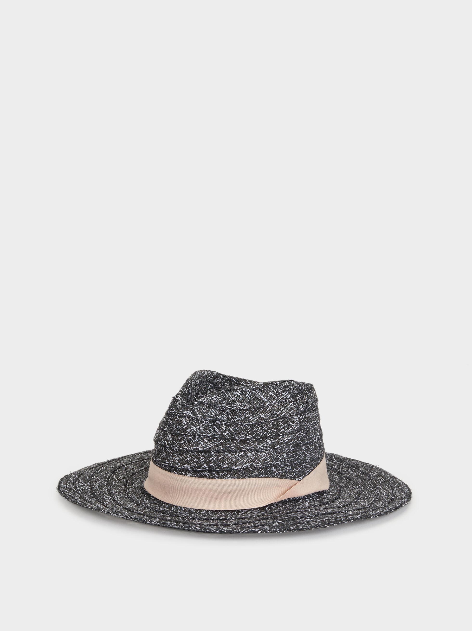 Faux Raffia Hat, Black, hi-res