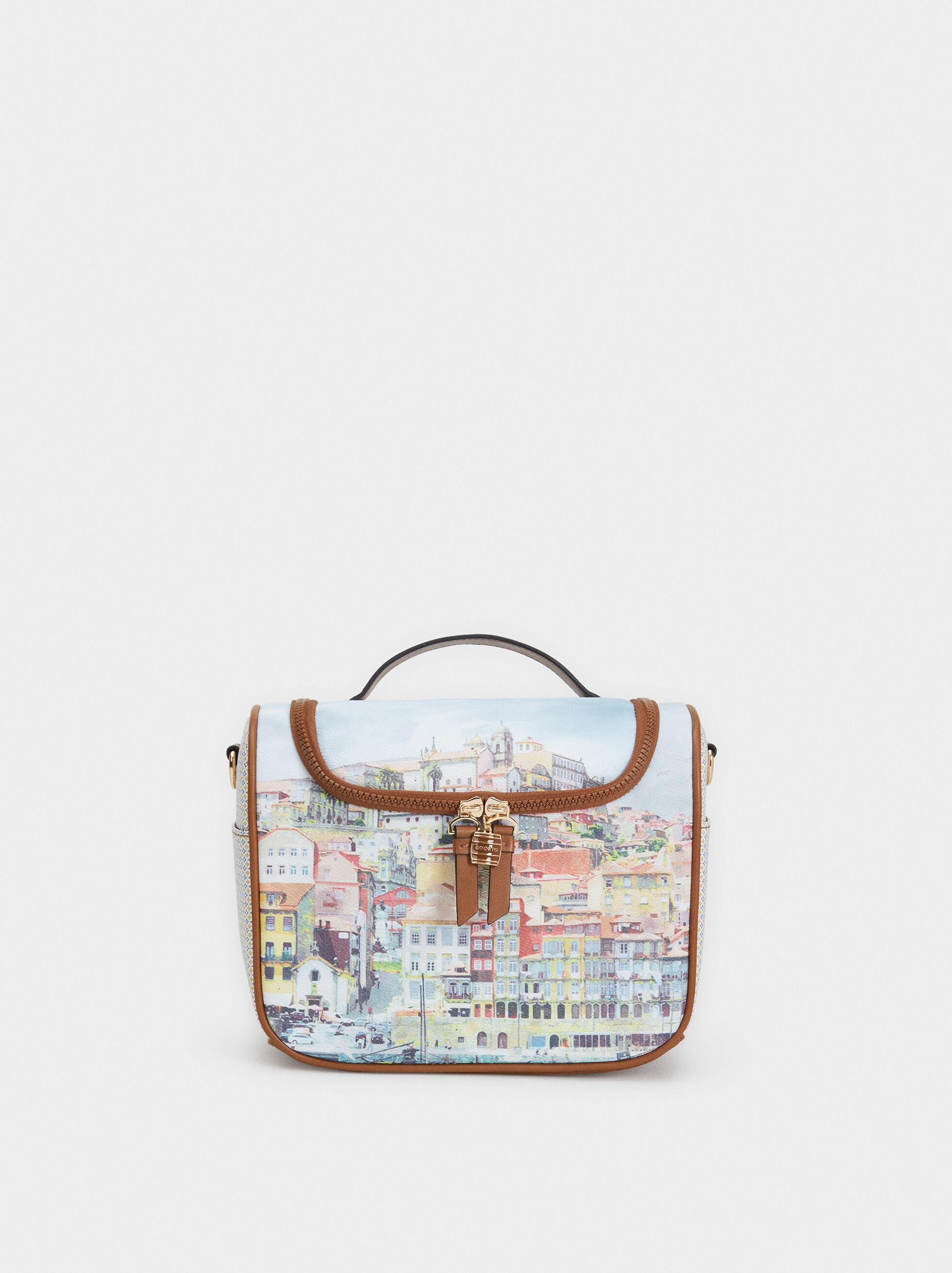 Porto Print Lunch Bag, Blue, hi-res