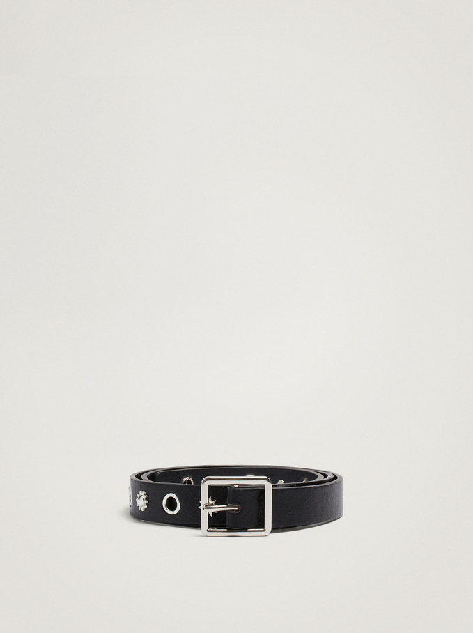 Belt With Eyelet And Square Buckle, Black, hi-res