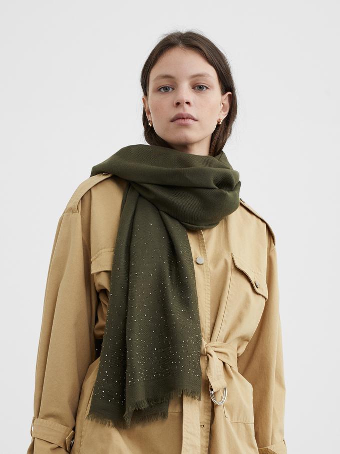 Elegant Scarf With Rhinestones, Khaki, hi-res