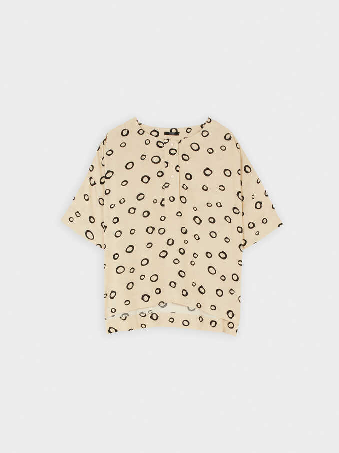 Shirt With Circle Print, Ecru, hi-res