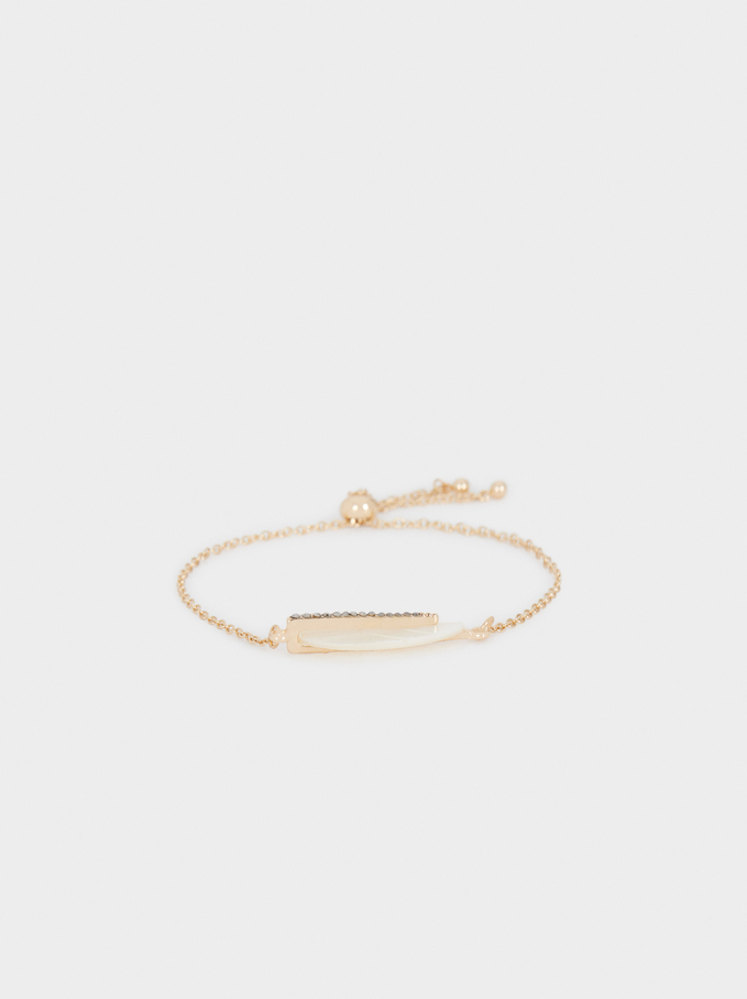 Bracelet Ajustable Feuille Avec Cristaux, Doré, hi-res