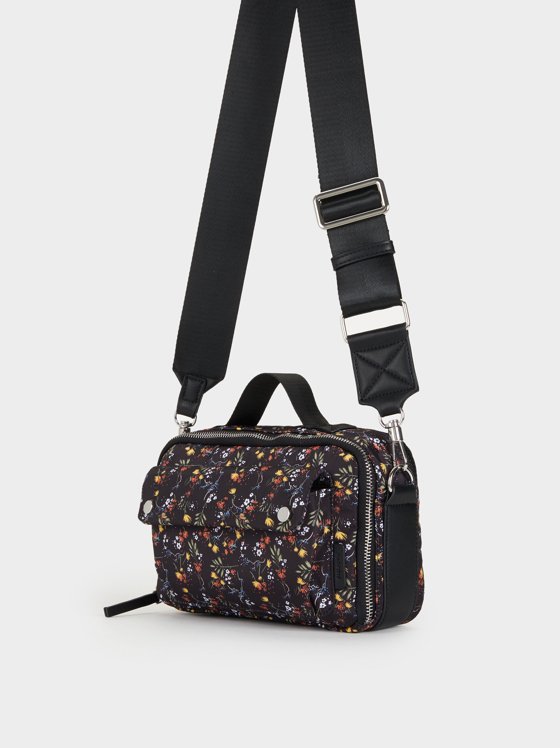 Floral Print Nylon Crossbody Bag, Black, hi-res
