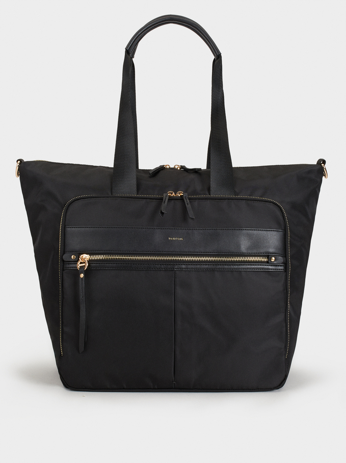 Nylon Weekend Bag, Black, hi-res